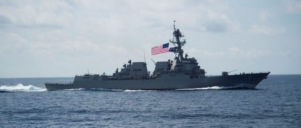 The Arleigh Burke-class guided-missile destroyer USS Wayne E. Meyer (DDG 108) transits the South China Sea