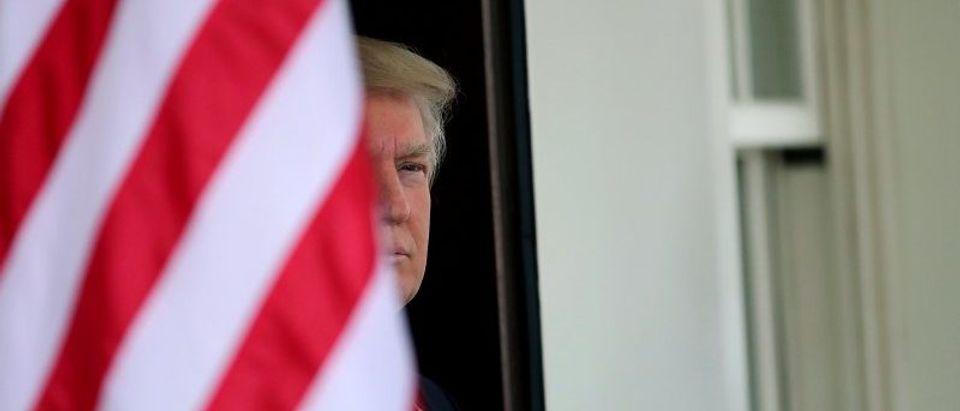 U.S. President Donald Trump waits for the arrival of Egypt's President Abdel Fattah al-Sisi at the White House in Washington