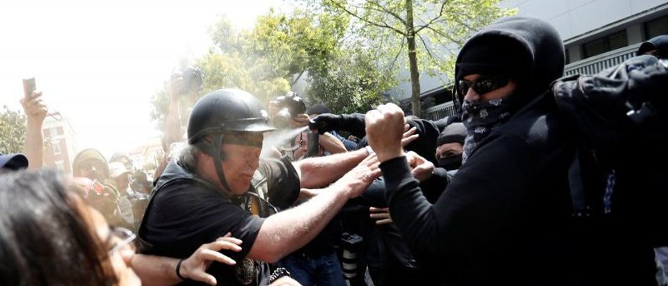A man in support of U.S. President Donald Trump is being pepper sprayed by a group on counter-protestors during a rally in Berkeley