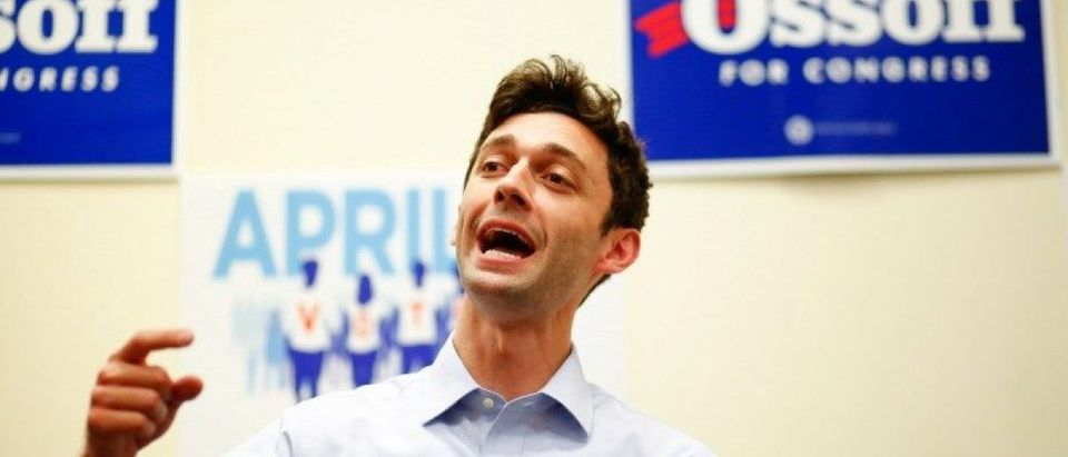 Democratic candidate Jon Ossoff for Georgia's 6th Congressional District special election speaks during an election eve rally at Andretti Indoor Karting and Games in Roswell
