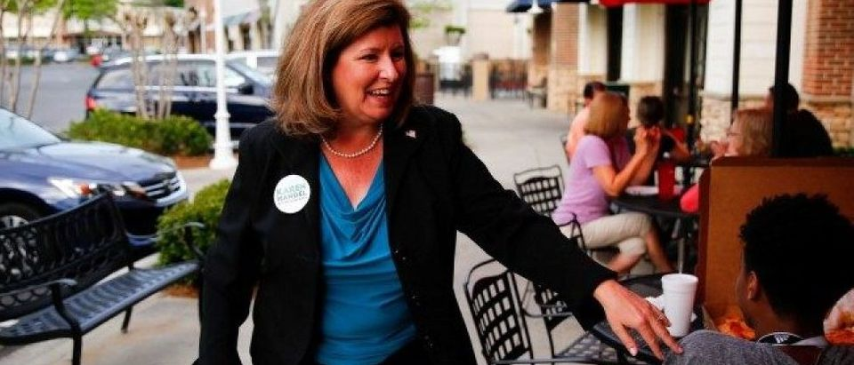 Republican candidate Karen Handel for Georgia's 6th Congressional District special election talks to supporters during a campaign stop at Santino's Italian Restaurant & Pizzeria in Alpharetta, Georgia, April 17, 2017.
