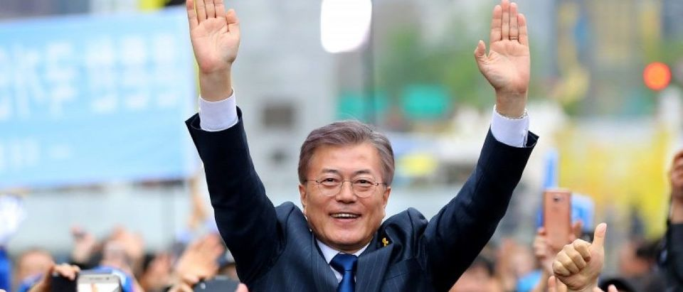 South Korea's Presidential candidate Moon Jae-in from Democratic Party attends an election campaign rally in Seoul