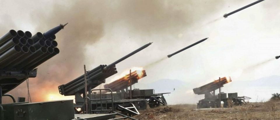 A view of artillery fire and landing exercises guided by North Korean leader Kim Jong Un