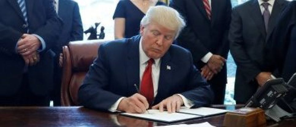 U.S. President Donald Trump signs a directive ordering an investigation into the impact of foreign steel on the American economy in the Oval Office of the White House