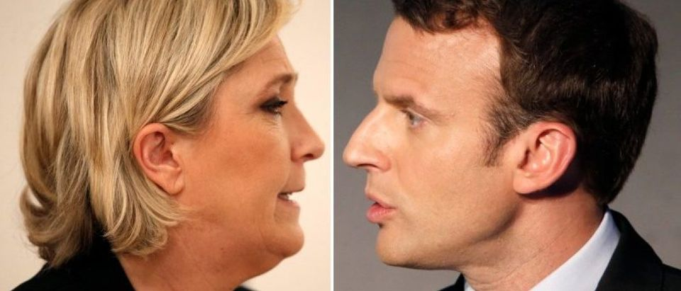 A combination picture shows portraits of candidates for the second round in the 2017 French presidential election Marine Le Pen and Emmanuel Macron