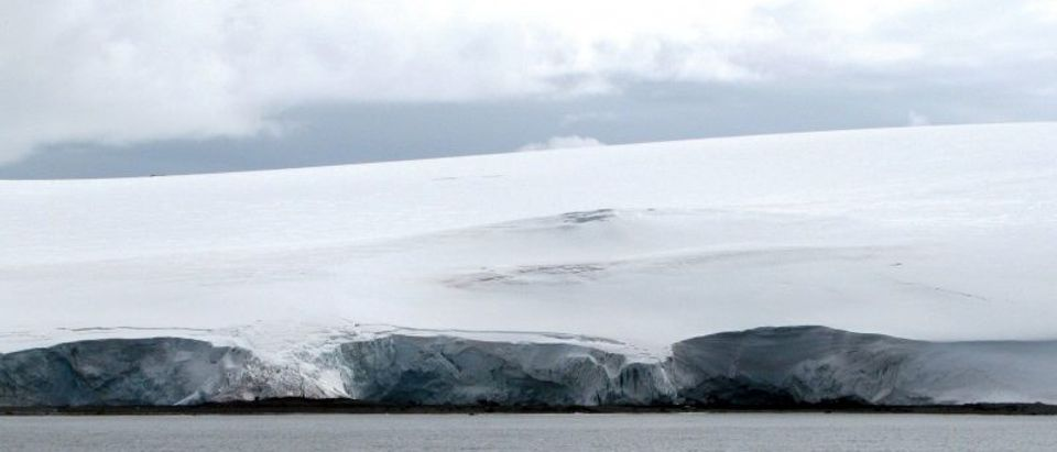 FILE PHOTO: Cracks are seen on the Fourcade glacier near Argentina's Carlini Base in Antarctica