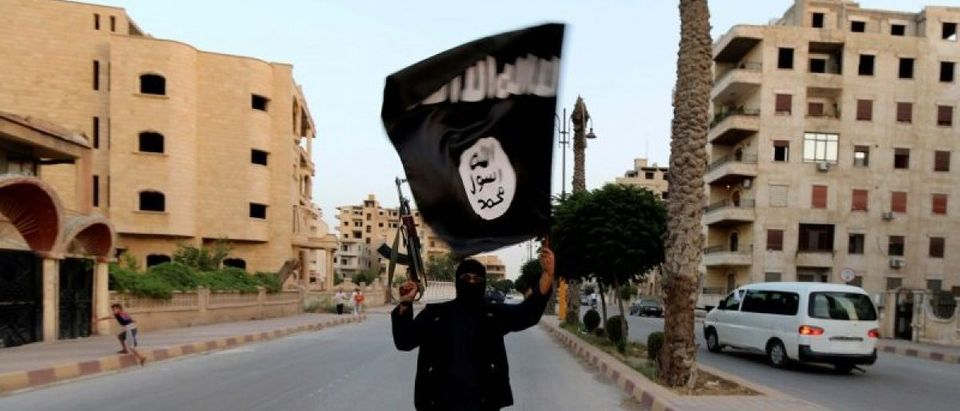 FILE PHOTO: A member loyal to the ISIL waves an ISIL flag in Raqqa