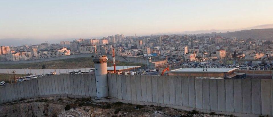 View shows Israeli Qalandiya checkpoint behind the Israeli barrier near the West Bank city of Ramallah