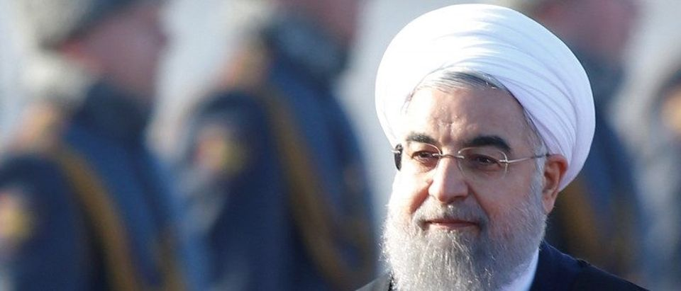 FILE PHOTO: Iranian President Rouhani inspects honour guard during welcoming ceremony upon his arrival at Vnukovo International Airport in Moscow