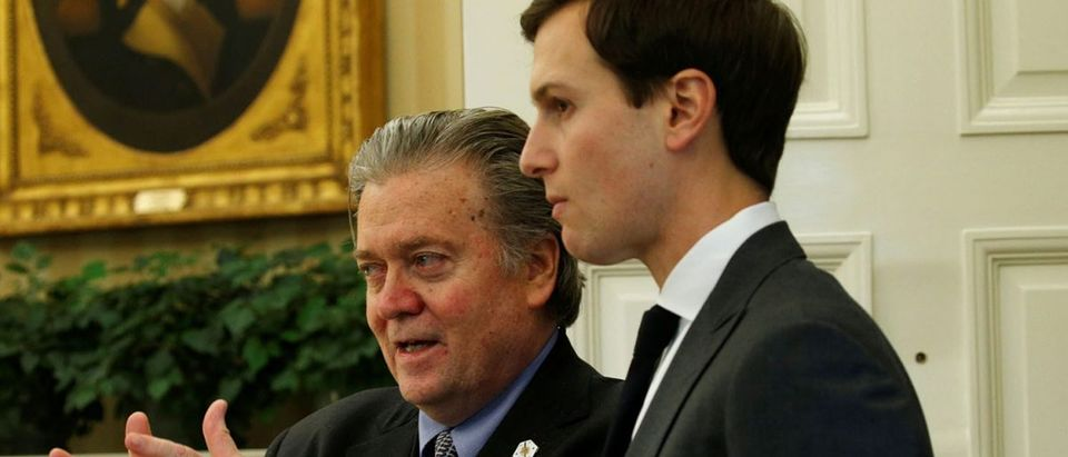 Bannon and Kushner talk at the White House in Washington