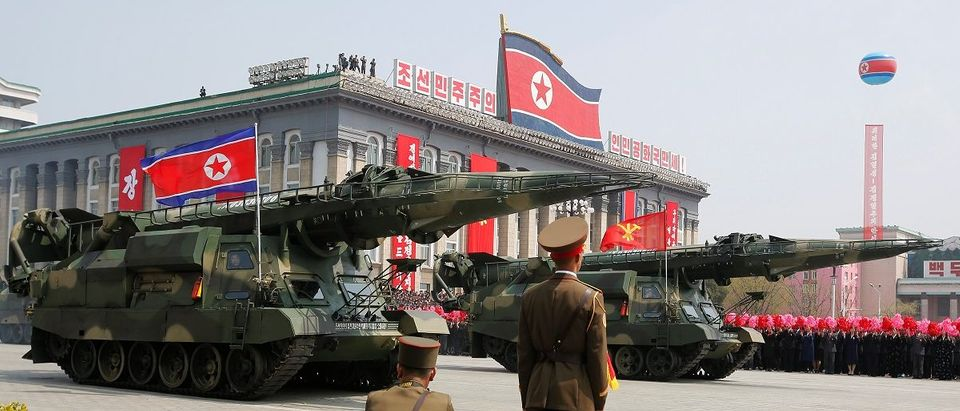 Missiles are driven past the stand with North Korean leader Kim Jong Un and other high ranking officials during a military parade marking the 105th birth anniversary of North Korea's founding father, Kim Il Sung, in Pyongyang