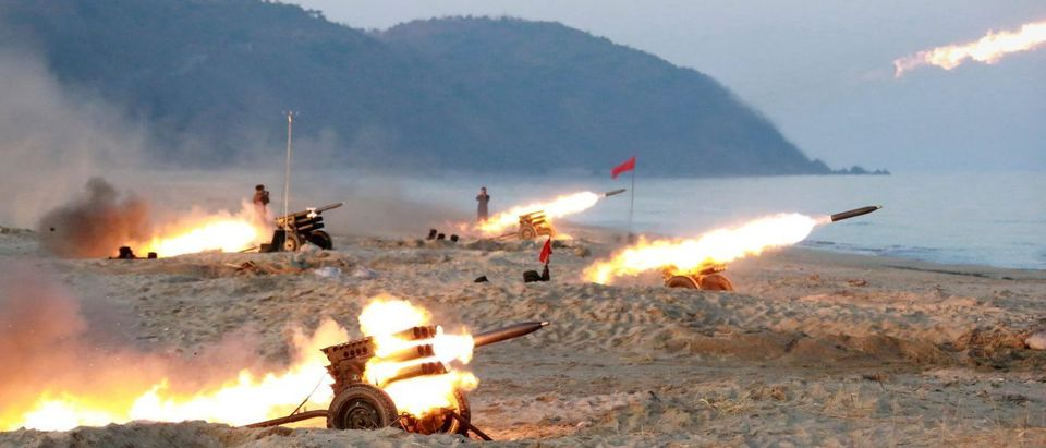 A view of a firing contest among multiple launch rocket system (MLRS) batteries selected from large combined units of the KPA