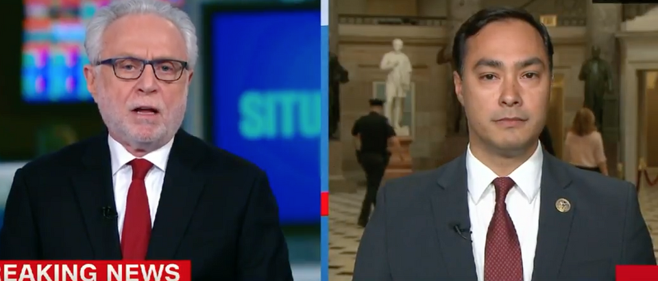 Rep. Joaquin Castro talks with CNN's Wolf Blitzer (Youtube screen grab)