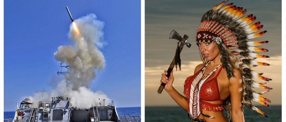 Tomahawk missile, woman holding a tomahawk (Getty Images, Shutterstock)