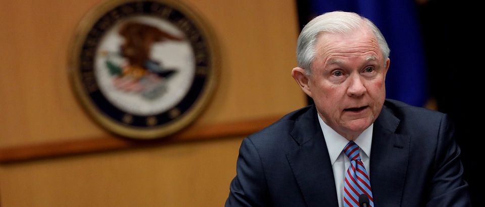 Attorney General Jeff Sessions speaks during a meeting with the Organized Crime Council and Organized Crime Drug Enforcement Task Force Executive Committee