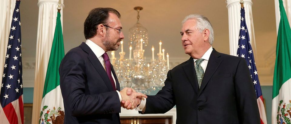 U.S. Secretary of State Rex Tillerson shakes hands with Mexican Foreign Minister Luis Videgaray at the State Department in Washington