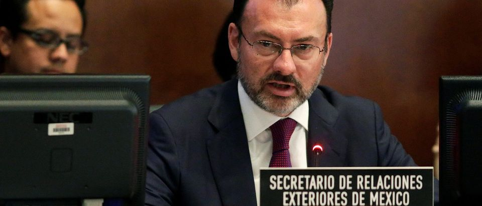 Mexican Foreign Minister Luis Videgaray speaks to the Permanent Council of the Organization of American States (OAS) about the upcoming OAS General Assembly in Washington