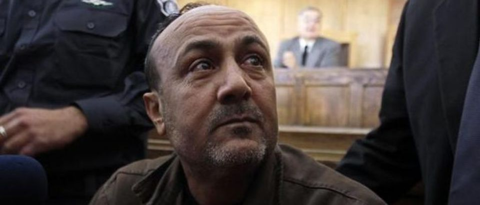 Jailed Fatah leader Marwan Barghouti attends a deliberation at court in Jerusalem