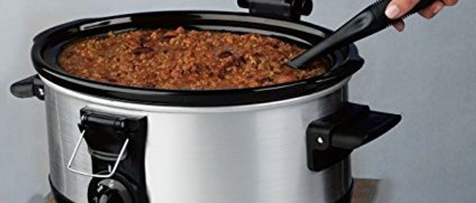 From soup day Saturdays to an occasional party pot roast, the Hamilton Beach Stay or Go 6 Quart Lid Latch strap Slow Cooker has you covered. (Photo via Amazon)