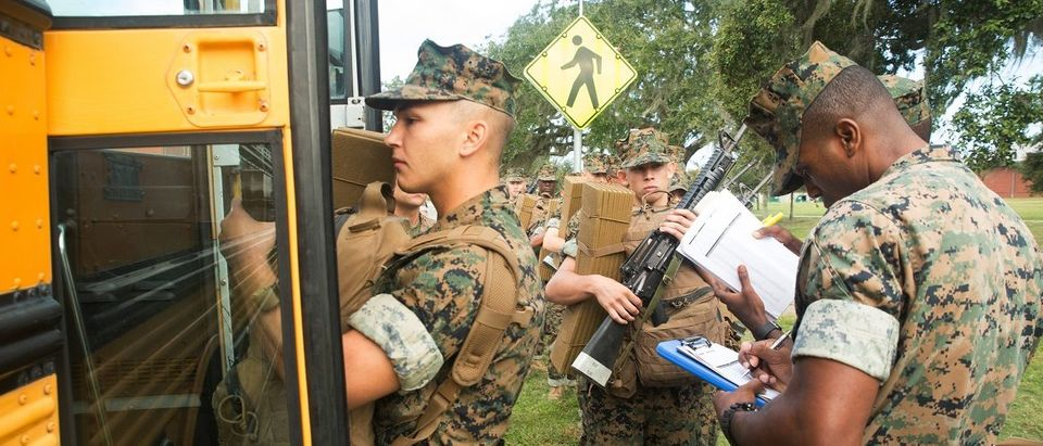 U.S. Marine Corps recruits load buses during an evacuation ahead of the arrival of Hurricane Matthew, from the training facility at Parris Island, South Carolina October 6, 2016. USMC/Lance Cpl. Carlin Warren/Handout via Reuters