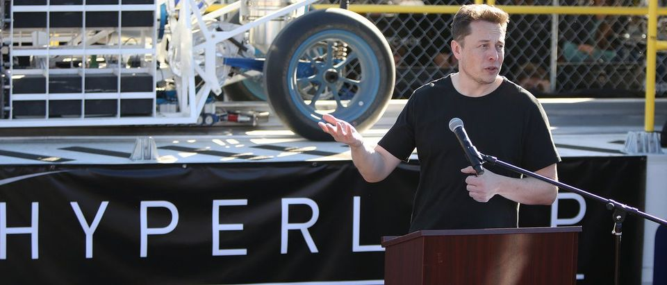 Ellon Musk, founder and CEO of SpaceX speaks before the start of the SpaceX Hyperloop Pod Competition in Hawthorne, Los Angeles