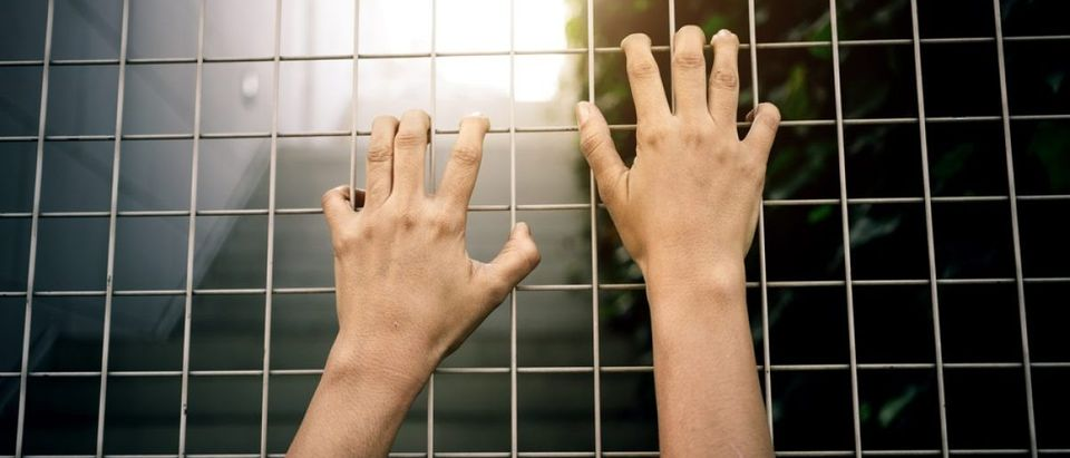 Desperate hands reaching up in a prison cell. [Shutterstock - Bohbeh]
