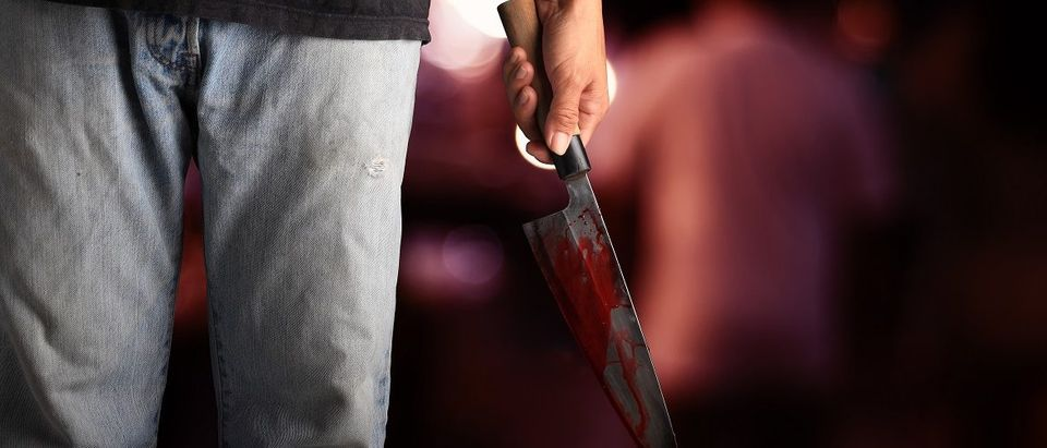 Man with a knife that is dripping blood. Thirdparty/Shutterstock.