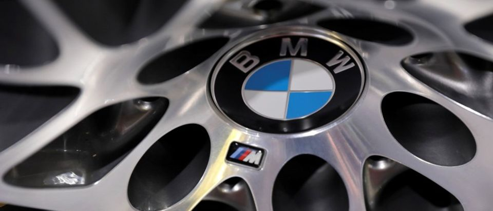 BMW logos are seen at the 2017 New York International Auto Show in New York