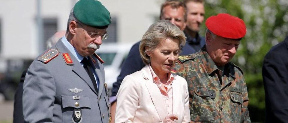 German Defence Minister von der Leyen visits the 291st fighter squadron in Illkirch-Graffenstaden near Strasbourg