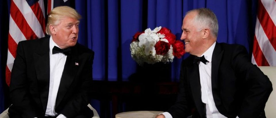 U.S. President Trump and Australia's PM Turnbull deliver brief remarks ahead of an event commemorating the 75th anniversary of the Battle of the Coral Sea in New York