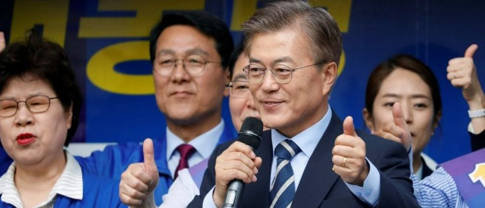 Moon Jae-in, the presidential candidate of the Democratic Party of Korea, speaks during his election campaign rally in Daegu