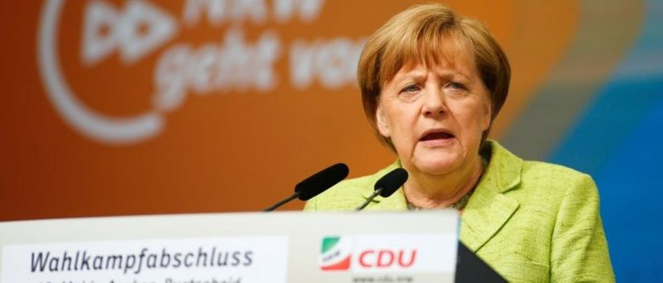 German Chancellor Angela Merkel speaks during an election rally in Aachen