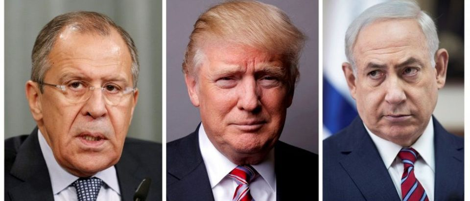 FILE PHOTO: A combination of file photos showing Russian Foreign Minister Sergei Lavrov, U.S. President Donald Trump and Israeli Prime Minister Benjamin Netanyahu
