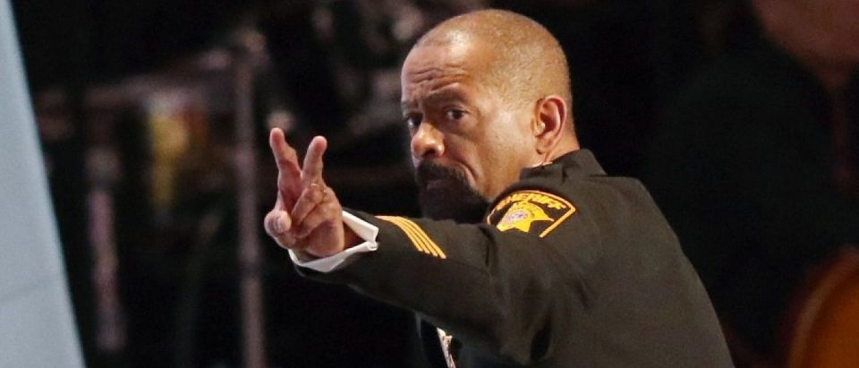 Milwaukee County Sheriff David Clarke gestures after speaking at the Republican National Convention in Cleveland, Ohio, U.S. on July 18, 2016. REUTERS/Aaron Josefczyk/File Photo