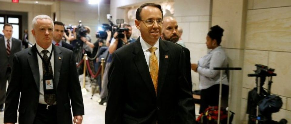 Deputy Attorney General Rod Rosenstein arrives for a closed briefing for members of the House of Representatives, in Washington