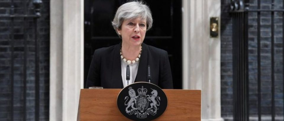Britain's Prime Minister Theresa May speaks outside 10 Downing Street in London
