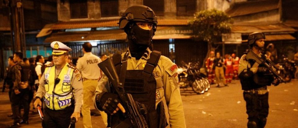 Police guard at scene of an explosion in Jakarta