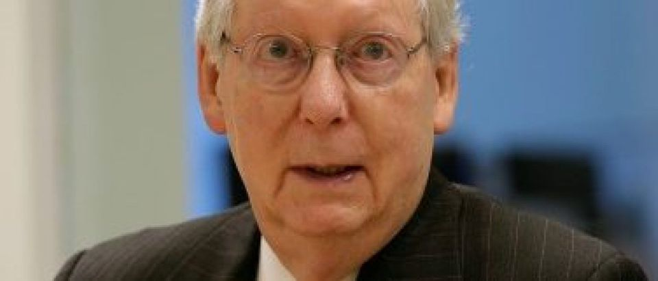 Senate Majority Leader McConnell speaks to Reuters during an interview in Washington