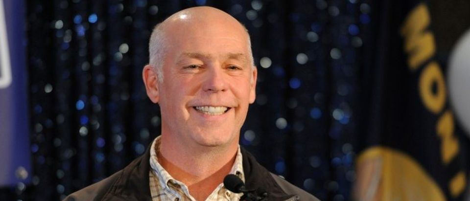 Representative elect Greg Gianforte accepts the crowds congratulations in Bozeman
