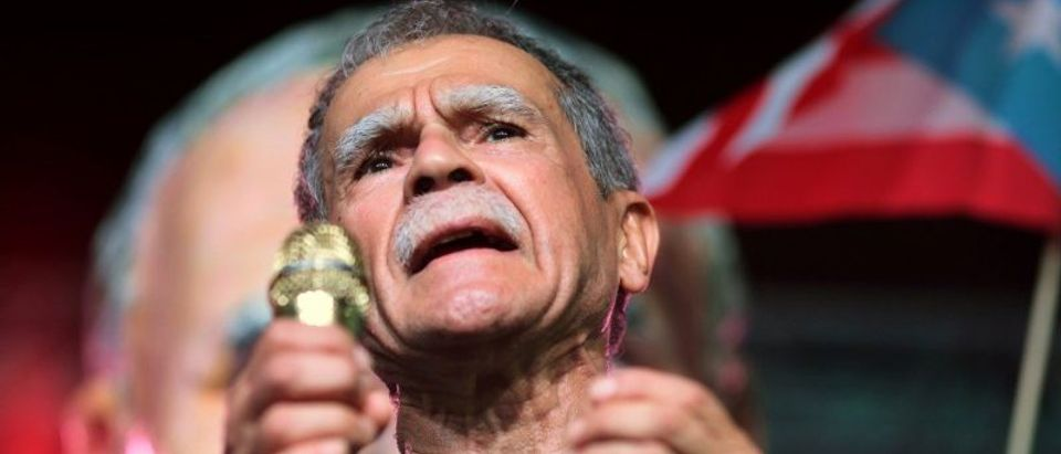 FILE PHOTO - Puerto Rican Oscar Lopez Rivera attends a rally in his honour after being released from house arrest in San Juan