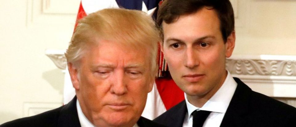 FILE PHOTO - U.S. President Donald Trump and his senior advisor Jared Kushner arrive for a meeting with manufacturing CEOs at the White House in Washington