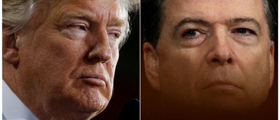 Combination of file photos of U.S. President Donald Trump and FBI Director James Comey