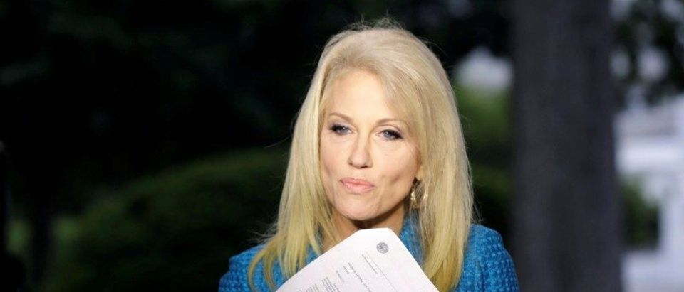 Trump's advisor Conway speaks about Comey at the White House in Washington