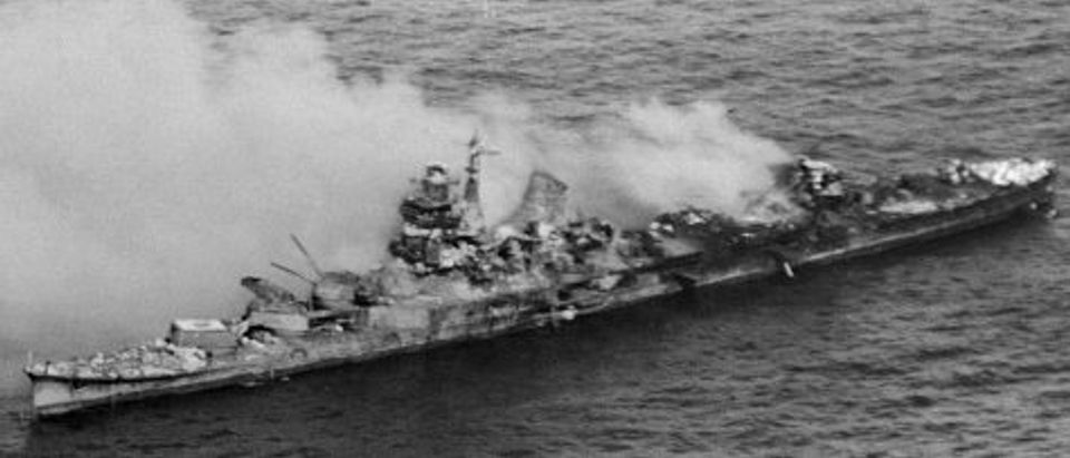 Japanese Ship Engulfed in Smoke after Attack
