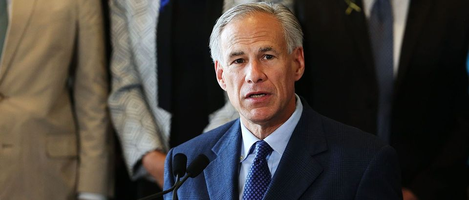 Texas Governor Greg Abbott speaks at Dallas's City Hall near the area that is still an active crime scene in downtown Dallas following the deaths of five police officers last night on July 8, 2016 in Dallas, Texas. (PHOTO: Spencer Platt/Getty Images)