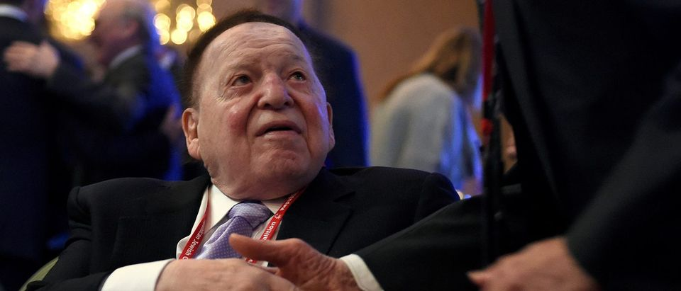 Las Vegas Sands Corp. Chairman and CEO Sheldon Adelson greets guests before U.S. Vice President Mike Pence speaks at the Republican Jewish Coalition's annual meeting in Las Vegas