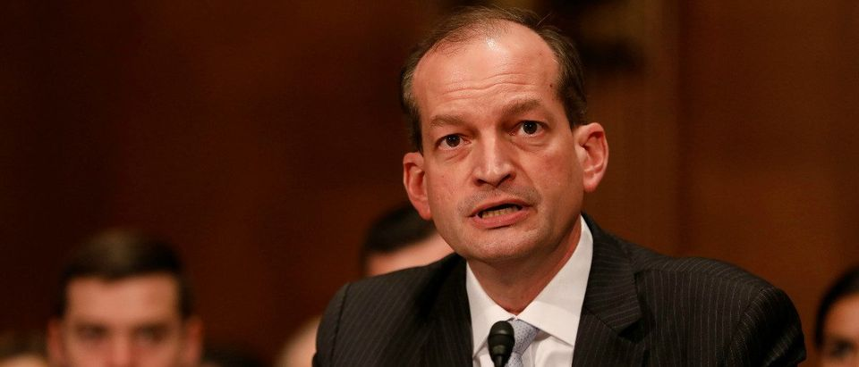 Alex Acosta, President Donald Trump's nominee to be Secretary of Labor, testifies during his confirmation hearing before the Senate Health, Education, Labor, and Pensions Committee on Capitol Hill in Washington, D.C., U.S. March 22, 2017. REUTERS/Aaron P. Bernstein