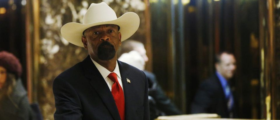 Milwaukee County Sheriff David Clarke Jr. departs after a meeting with U.S. President elect Donald Trump at Trump Tower New York