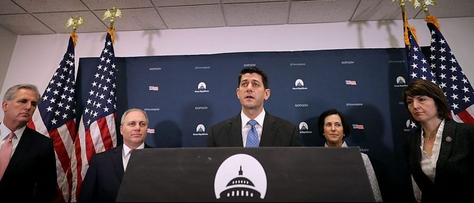 WASHINGTON, DC - JANUARY 24: Speaker of the House Paul Ryan (R-WI) (C) is joined by House GOP leaders (L-R) Majority Leader Kevin McCarthy (R-CA), Majority Whip Steve Scalise (R-LA), Rep. Mimi Walters (R-CA) and Rep. Cathy McMorris Rodgers (R-WA) during a news conference following a Republican conference meeting at the U.S. Capitol January 24, 2017 in Washington, DC. Ryan announced he is sending an offical invitation to President Donald Trump to address a joint session of Congress on Feb. 28, 2016. (Photo by Chip Somodevilla/Getty Images)