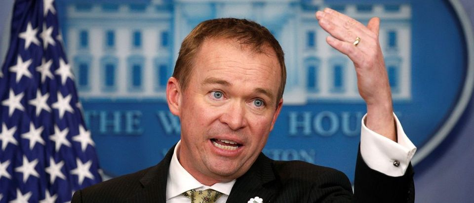 White House Office of Management and Budget Director Mick Mulvaney speaks about the budget at the White House in Washington